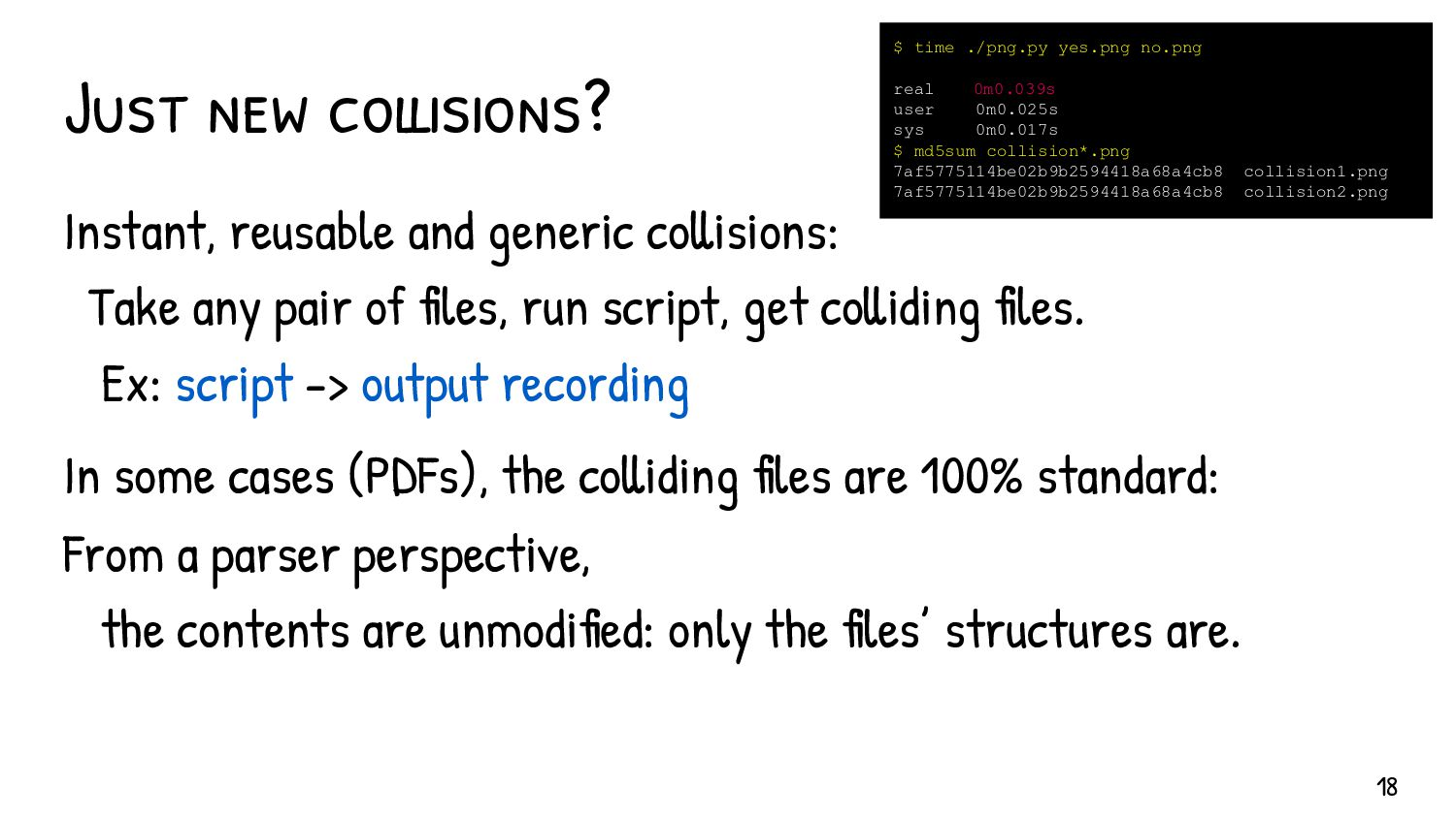 Demystifying long-lasting myths Hash collisions...