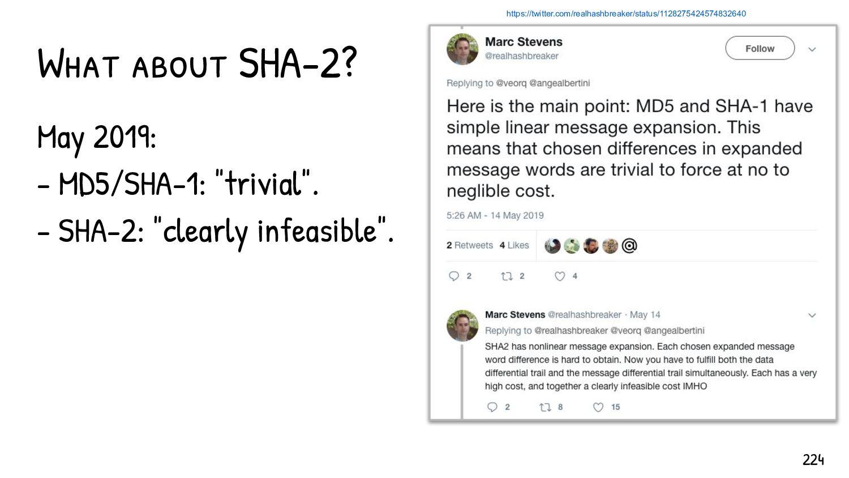 Current hash collision complexity SHA1 MD5 IPC ...