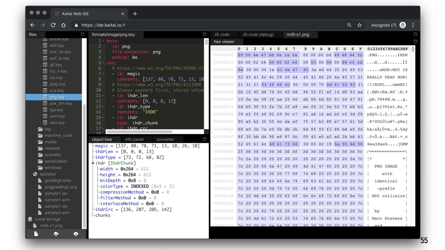Hex viewer YAML editor parsed output available ...