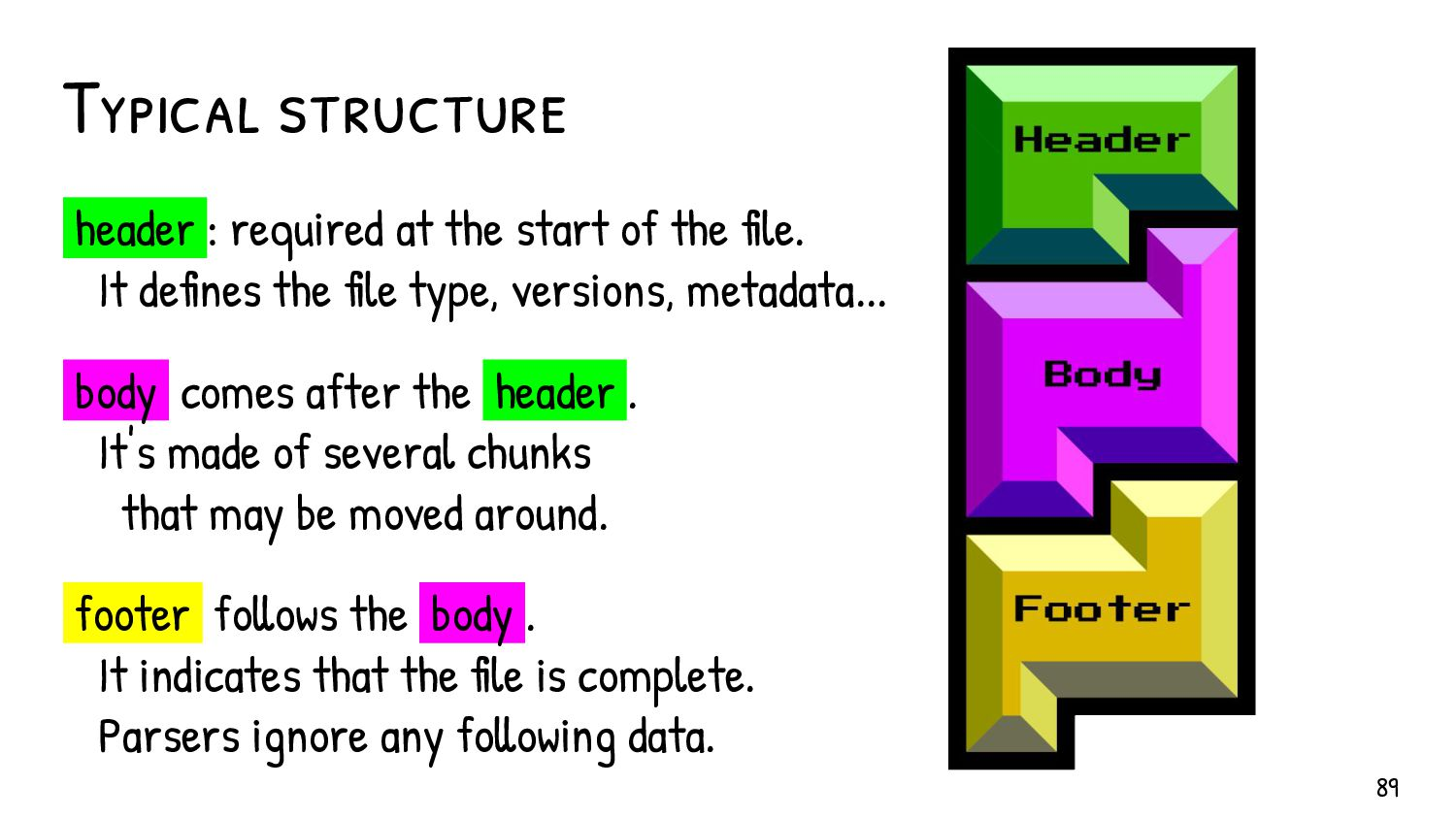 "The ""comment"" block Most format accept a commen..."