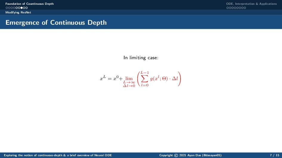 Foundation of Countinuous Depth ODE, Interpreta...
