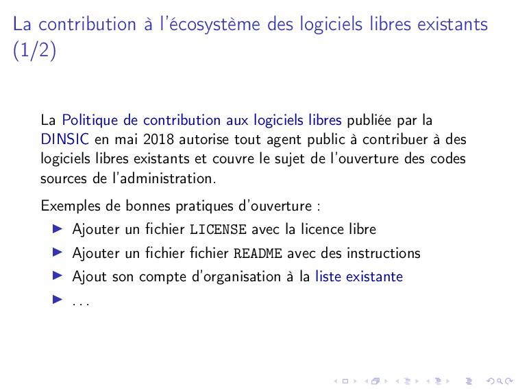 La contribution à l'écosystème des logiciels li...