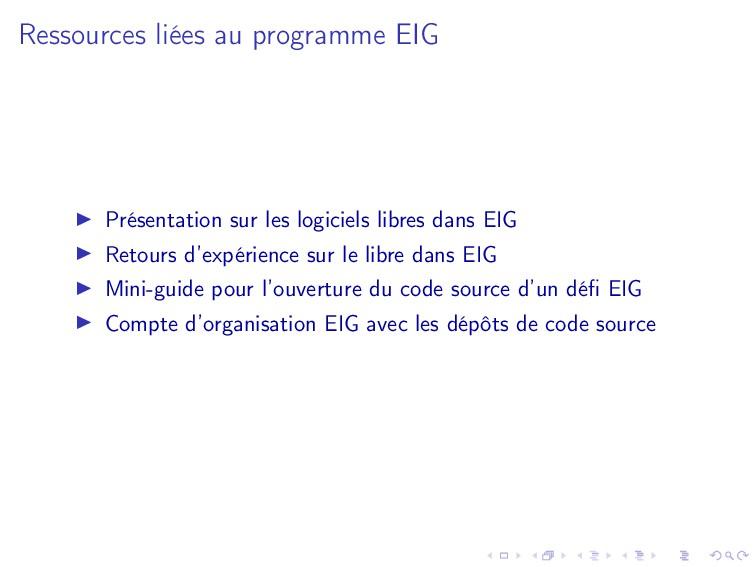 Ressources liées au programme EIG Présentation ...