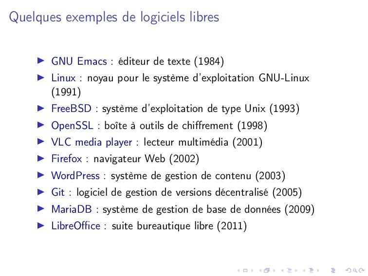 Quelques exemples de logiciels libres GNU Emacs...