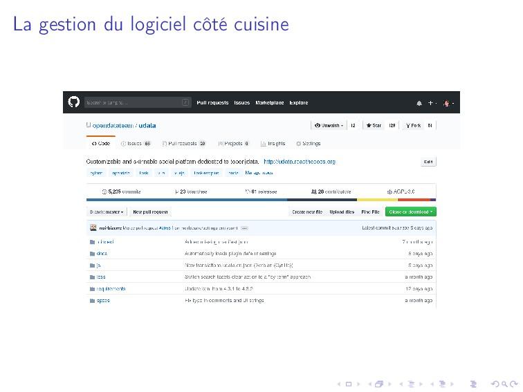 La gestion du logiciel côté cuisine