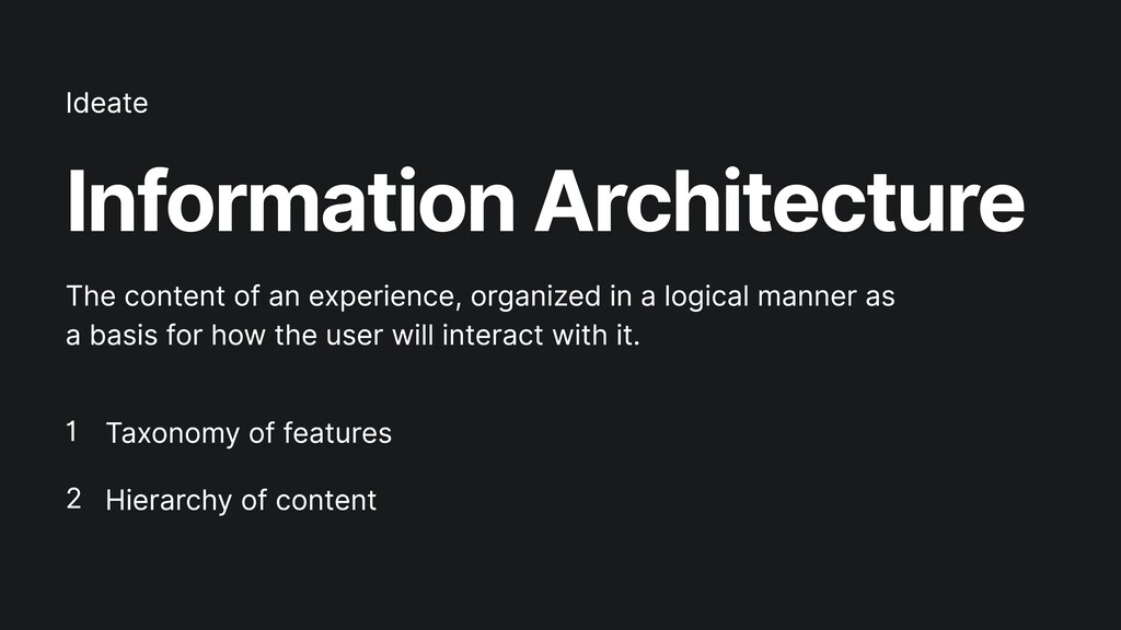 Information Architecture Taxonomy of features  ...