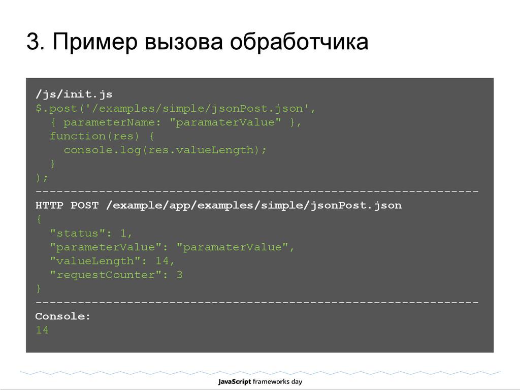3. Пример вызова обработчика /js/init.js $.post...