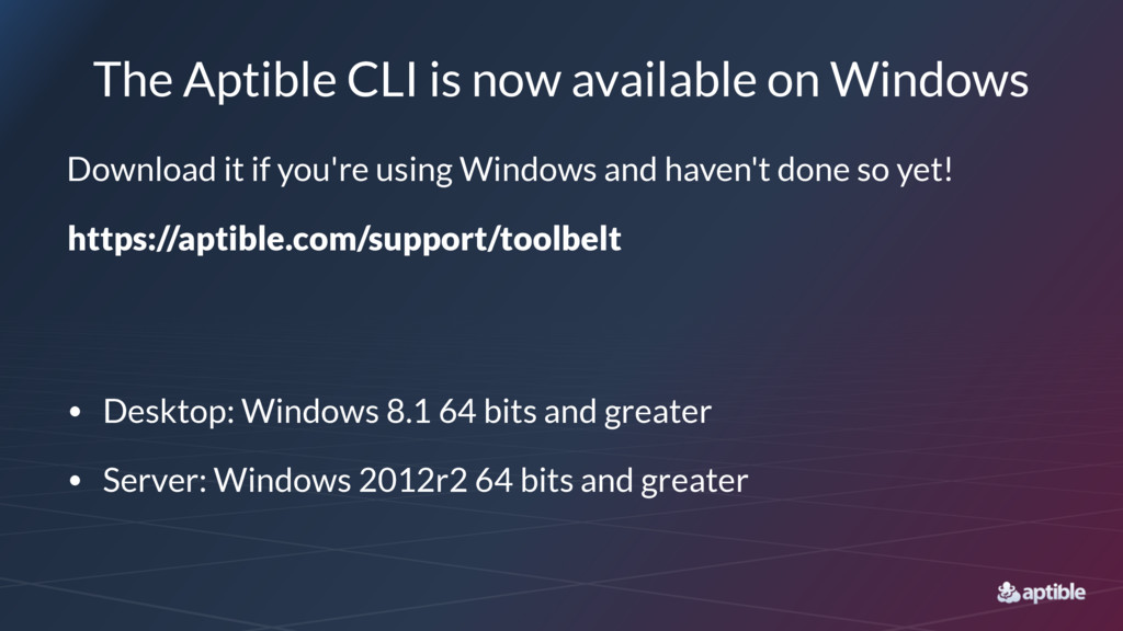 The Aptible CLI is now available on Windows Dow...