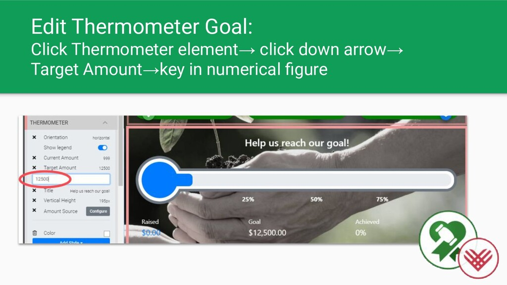 Edit Thermometer Goal: Click Thermometer elemen...