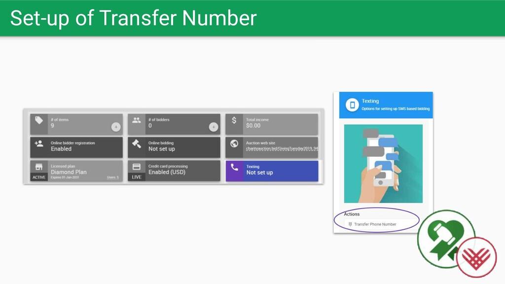 Set-up of Transfer Number