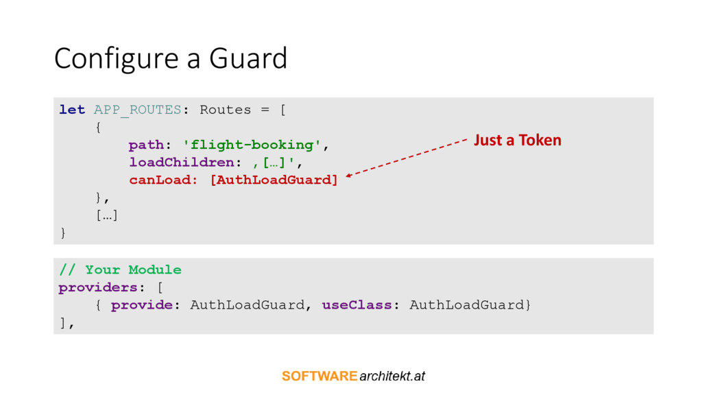 Configure a Guard let APP_ROUTES: Routes = [ { ...