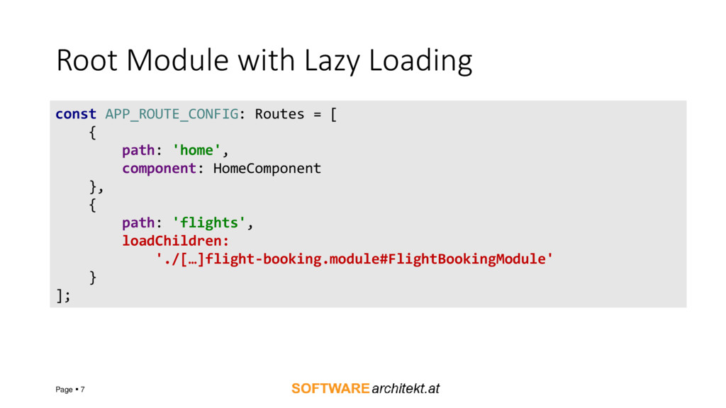 Root Module with Lazy Loading Page  7 const AP...
