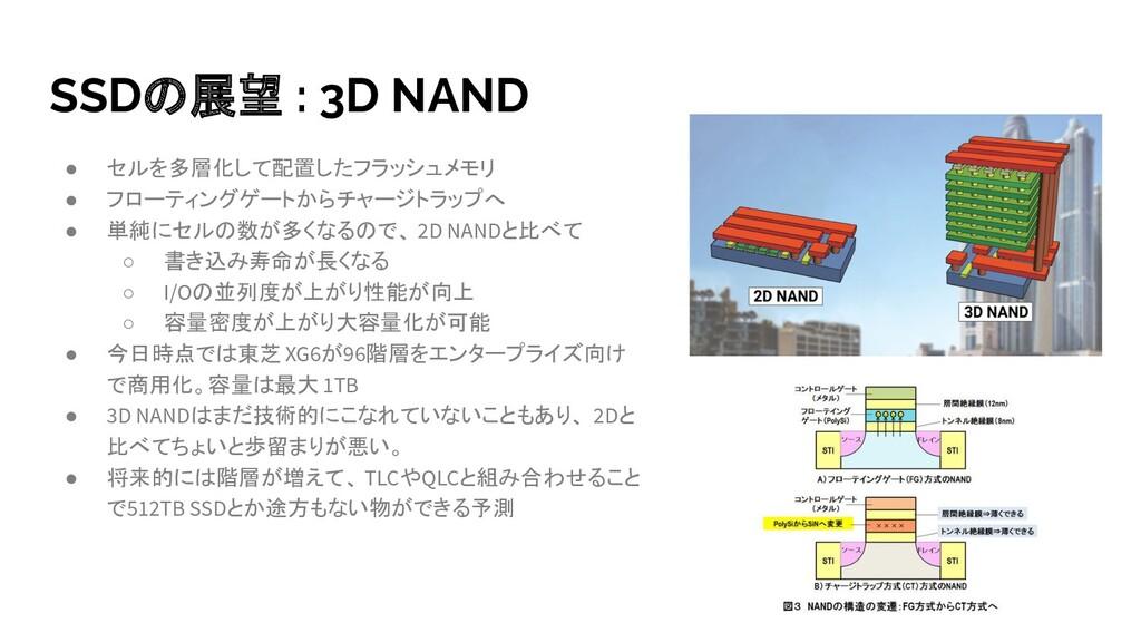SSDの展望 : 3D NAND ● セルを多層化して配置したフラッシュメモリ ● フローティ...