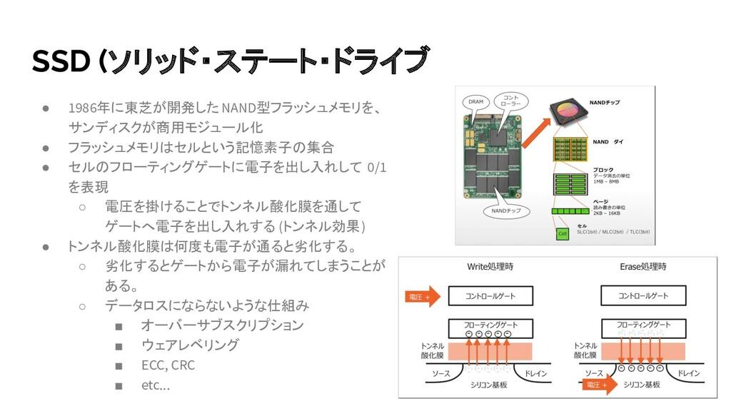 SSD (ソリッド・ステート・ドライブ ● 1986年に東芝が開発した NAND型フラッシュメ...