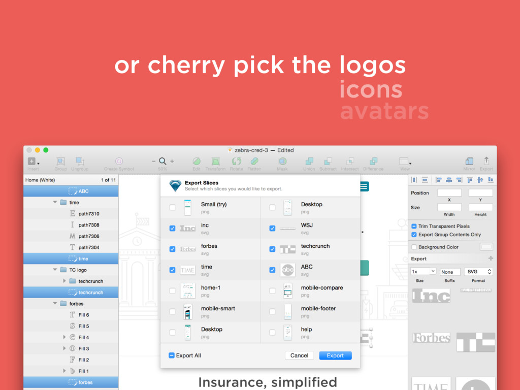 or cherry pick the logos icons avatars