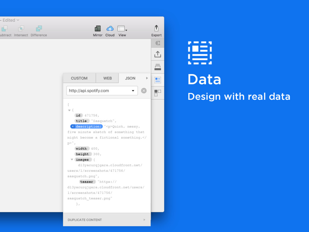 Data Design with real data