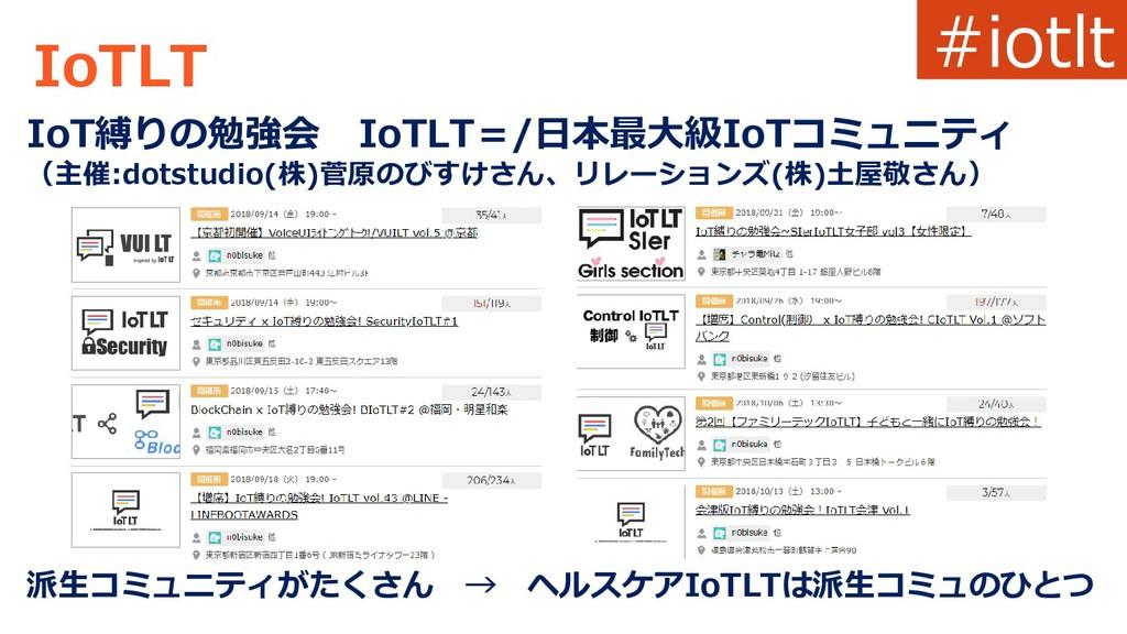 IoTLT IoT縛りの勉強会 IoTLT=/日本最大級IoTコミュニティ (主催:dotst...
