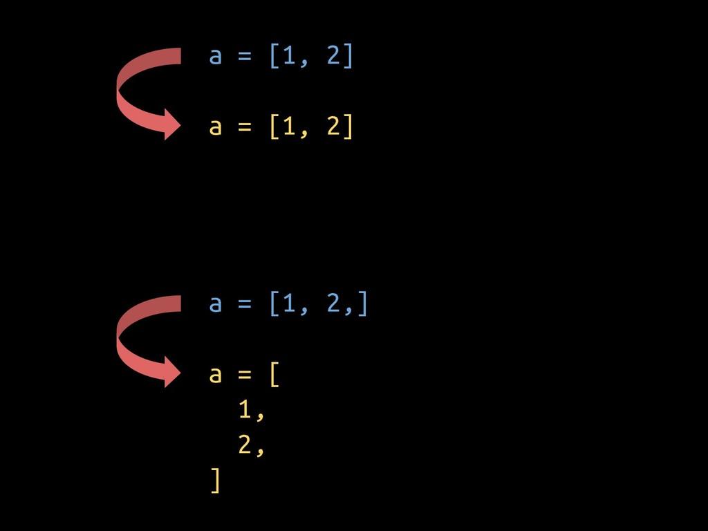 a = [1, 2] a = [1, 2] a = [1, 2,] a = [ 1, 2, ]