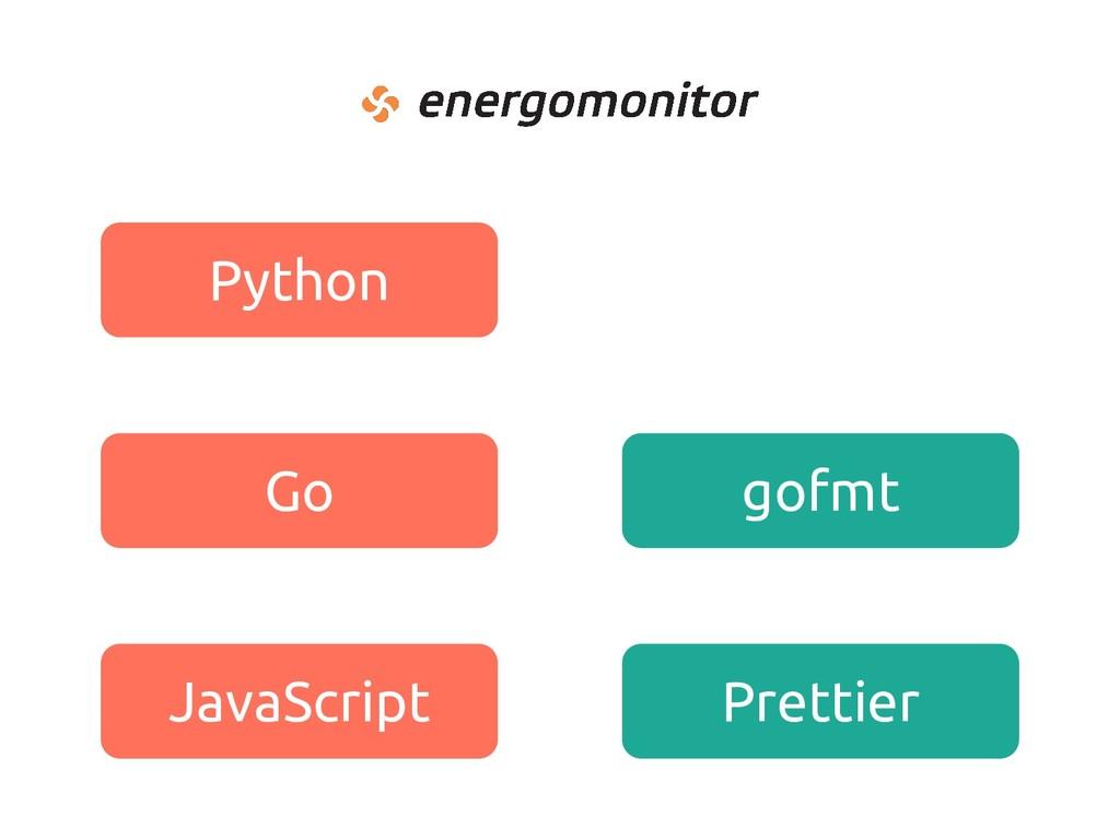 Python Go JavaScript gofmt Prettier