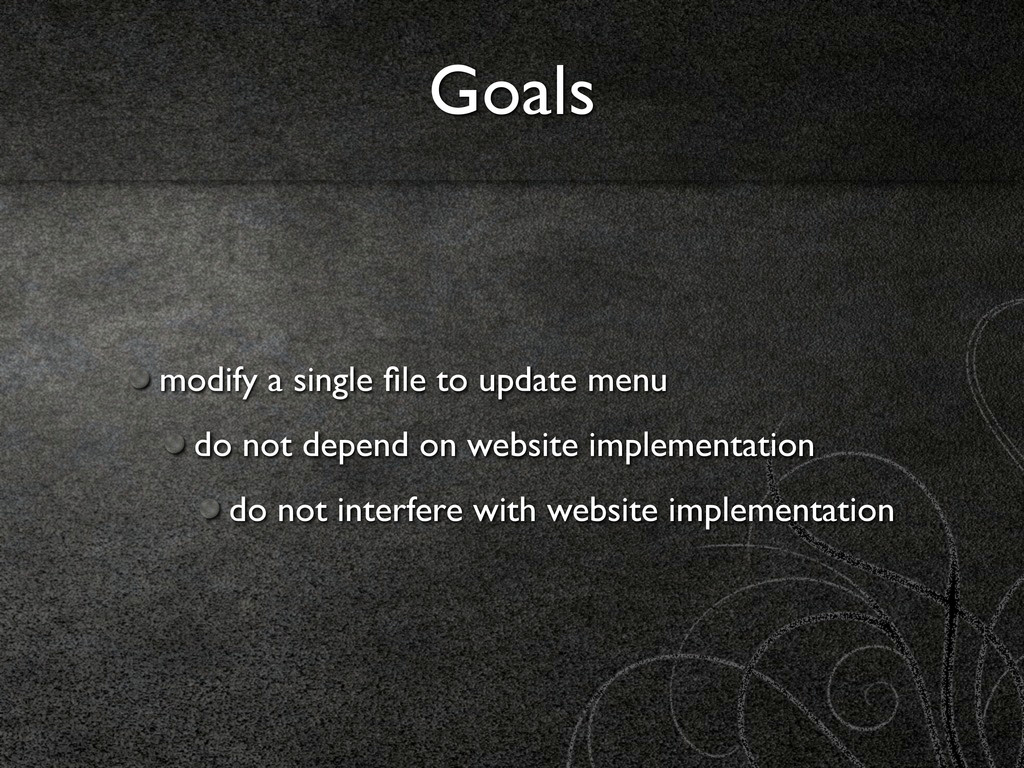 Goals modify a single file to update menu do not...