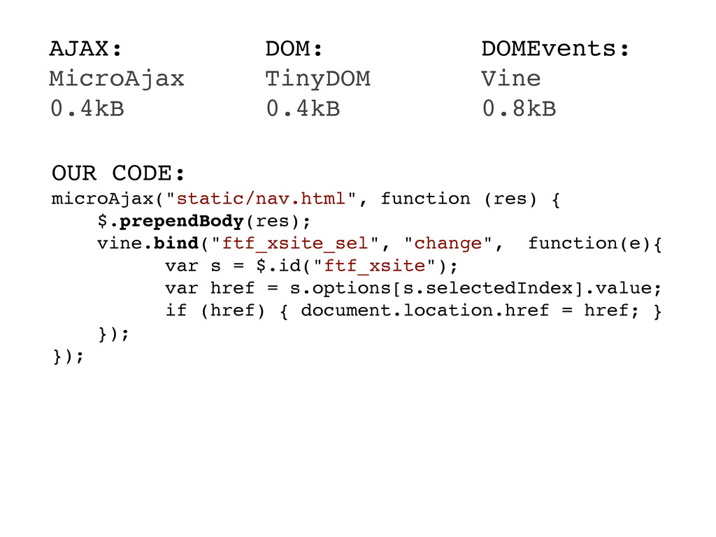 AJAX: MicroAjax 0.4kB DOM: TinyDOM 0.4kB DOMEve...