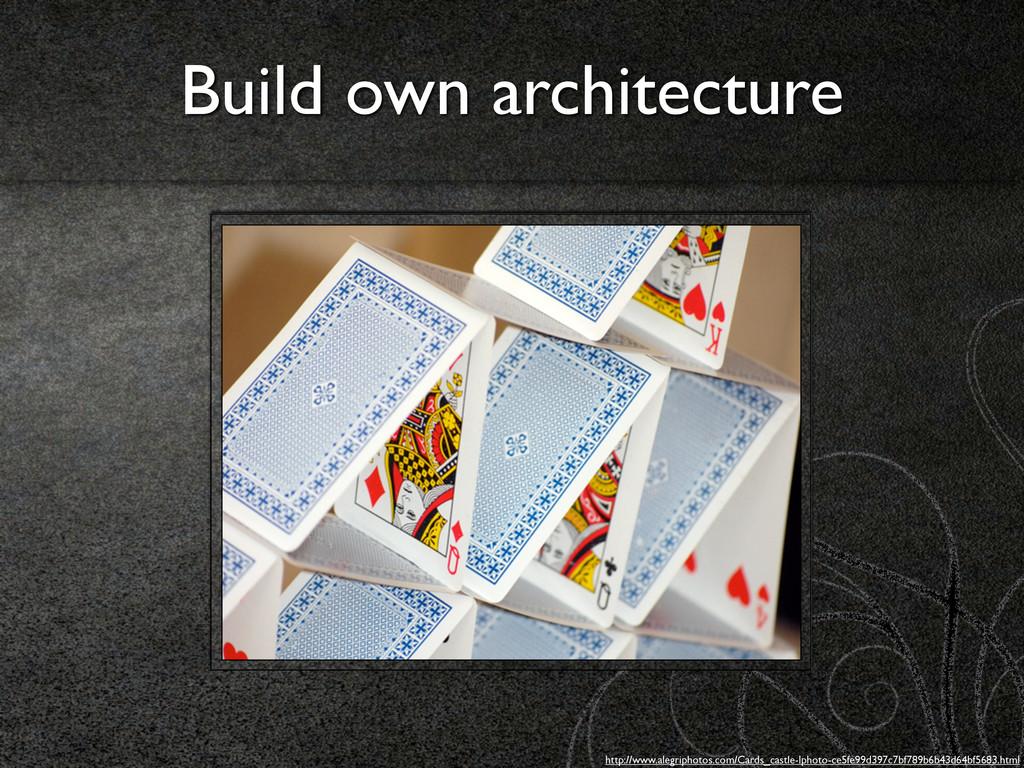 Build own architecture http://www.alegriphotos....