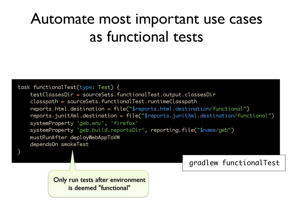 task functionalTest(type: Test) { testClassesDi...