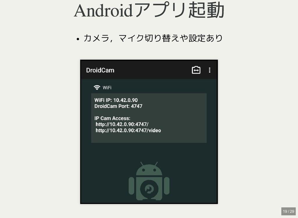 / Androidアプリ起動 Androidアプリ起動 カメラ,マイク切り替えや設定あり 19...