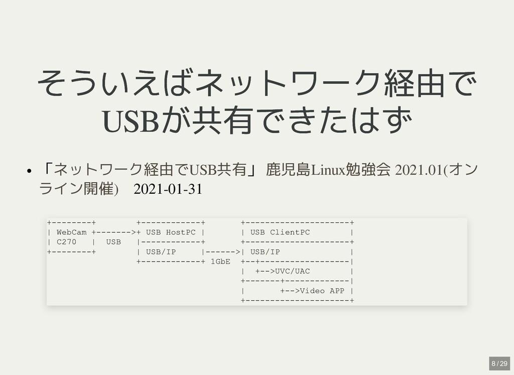 / そういえばネットワーク経由で そういえばネットワーク経由で USBが共有できたはず USB...