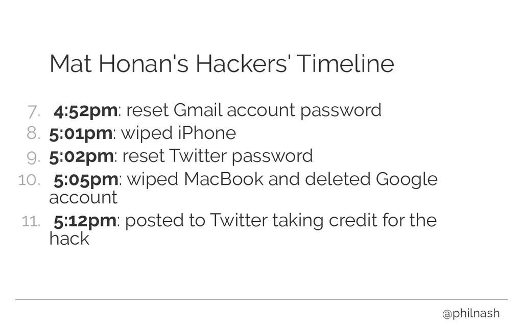 Mat Honan's Hackers' Timeline 7. 4:52pm: reset ...
