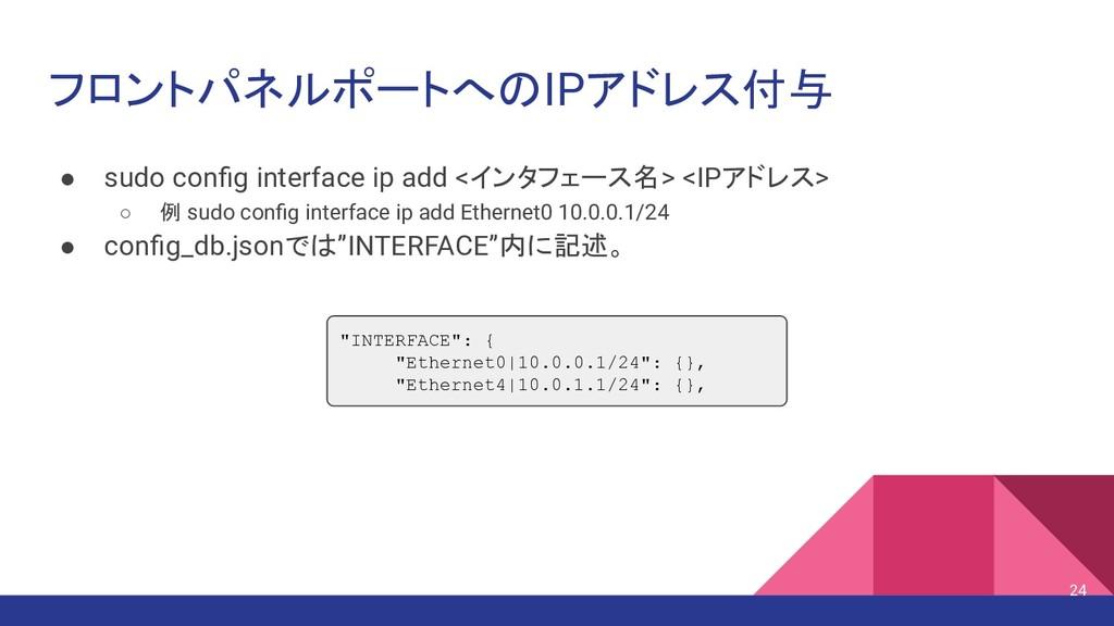 フロントパネルポートへのIPアドレス付与 ● sudo config interface ip ...