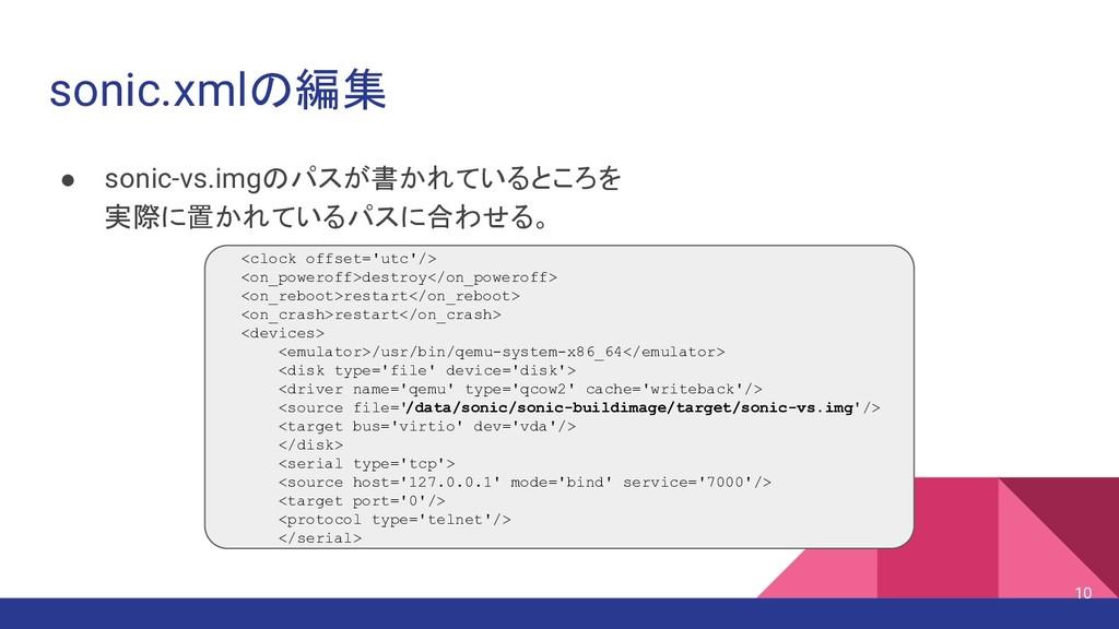 sonic.xmlの編集 ● sonic-vs.imgのパスが書かれているところを 実際に置か...