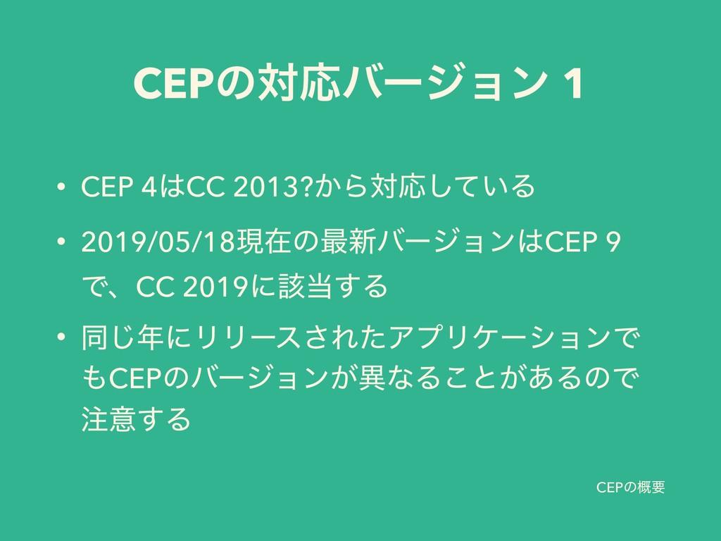 CEPͷ֓ཁ • CEP 4CC 2013?͔ΒରԠ͍ͯ͠Δ • 2019/05/18ݱࡏͷ...