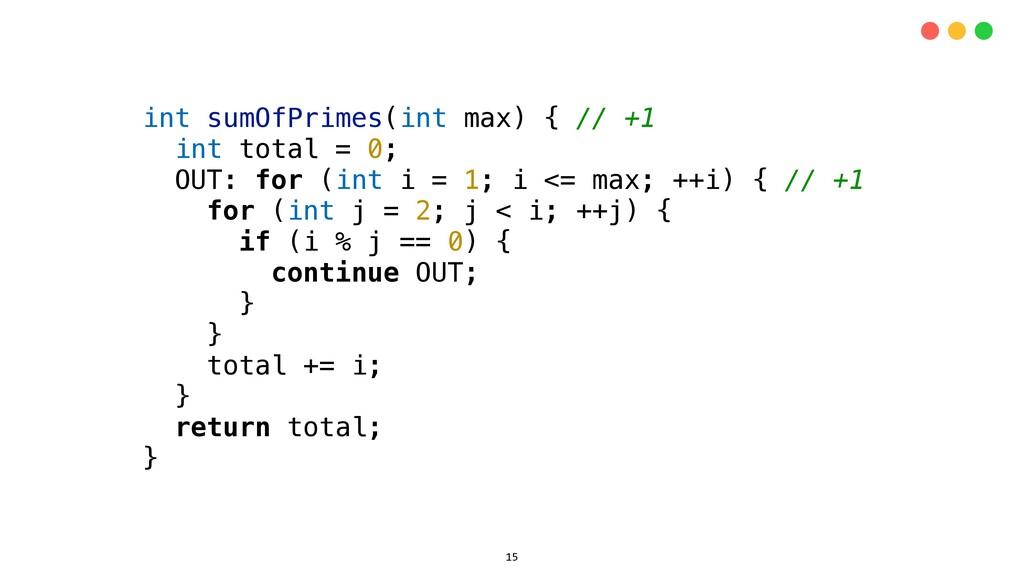 int sumOfPrimes(int max) { // +1 int total = 0;...