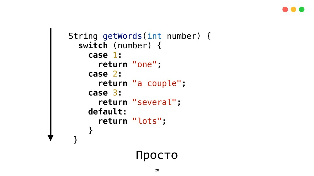 String getWords(int number) { switch (number) {...