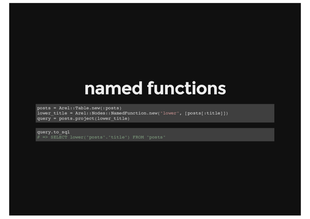 named functions posts = Arel::Table.new(:posts)...