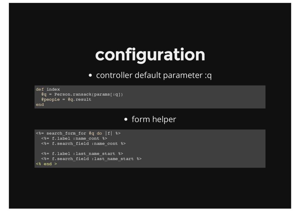 configuration controller default parameter :q d...