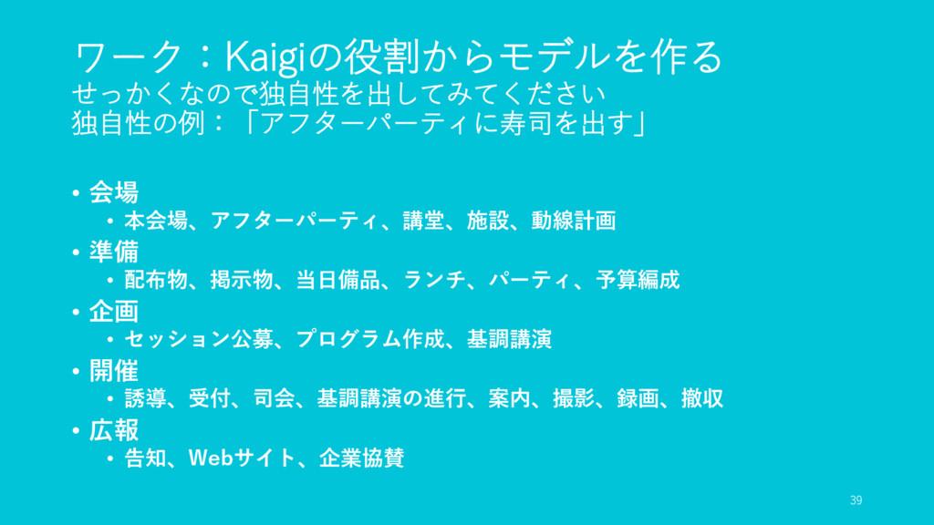 ワーク:Kaigiの役割からモデルを作る せっかくなので独自性を出してみてください 独自性の例...