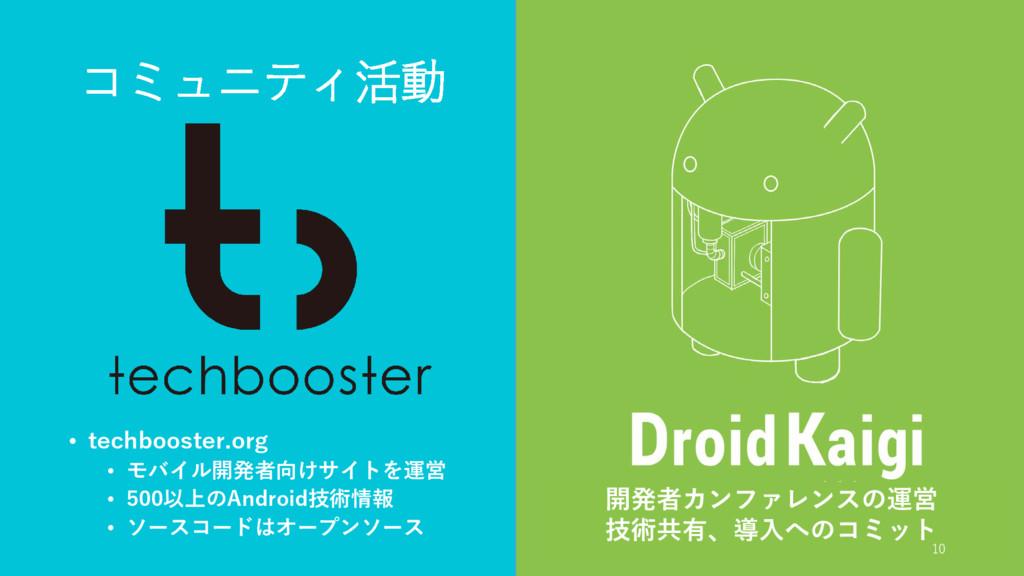 コミュニティ活動 • techbooster.org • モバイル開発者向けサイトを運営 • ...