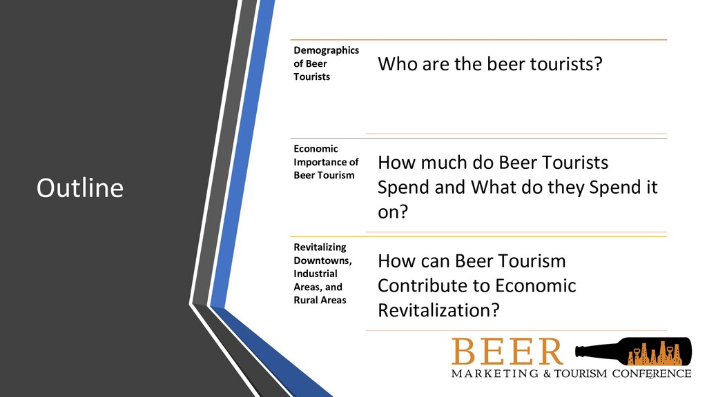 Outline 2 Demographics of Beer Tourists Who are...