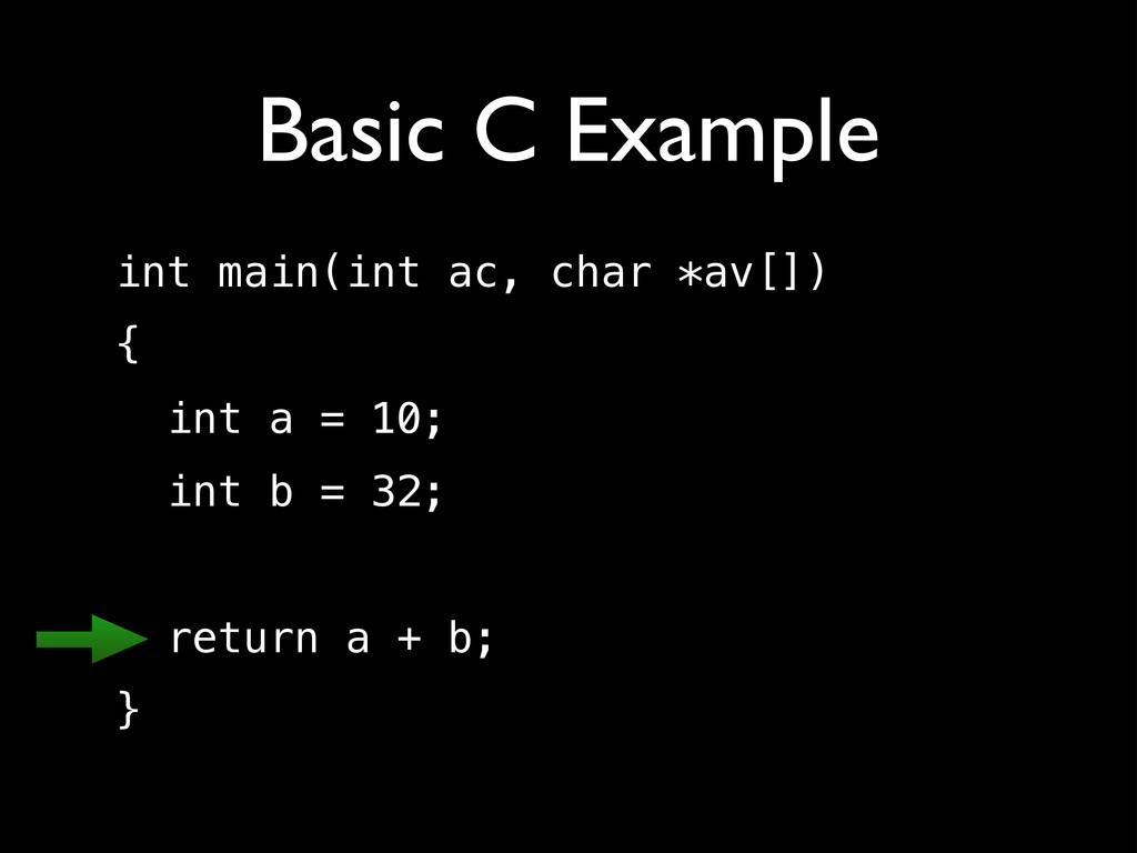 Basic C Example int main(int ac, char *av[]) { ...