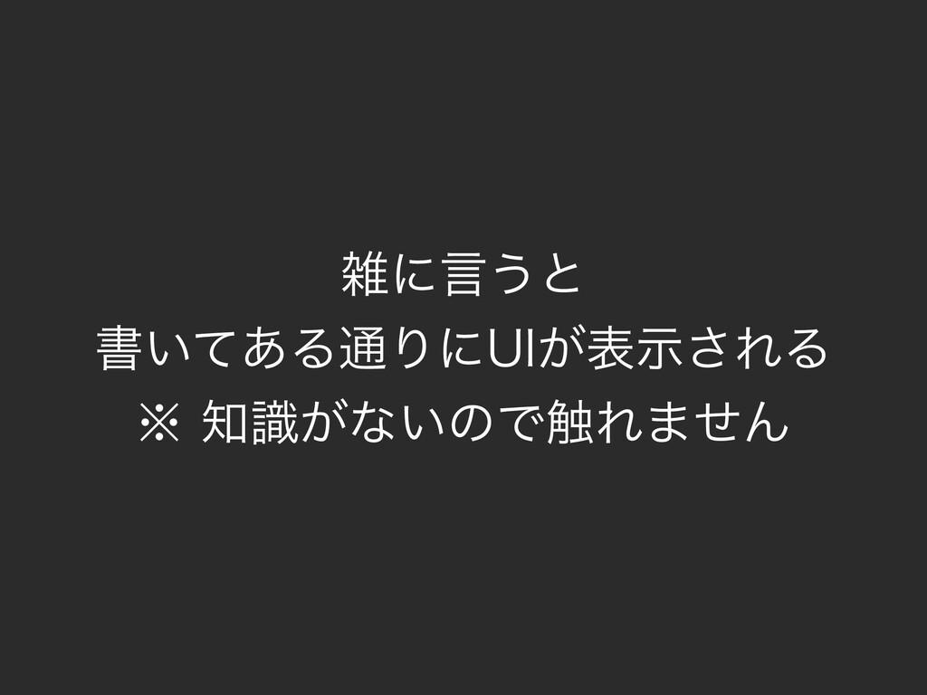 ʹݴ͏ͱ ॻ͍ͯ͋Δ௨Γʹ6*͕දࣔ͞ΕΔ ˞͕ࣝͳ͍ͷͰ৮Ε·ͤΜ