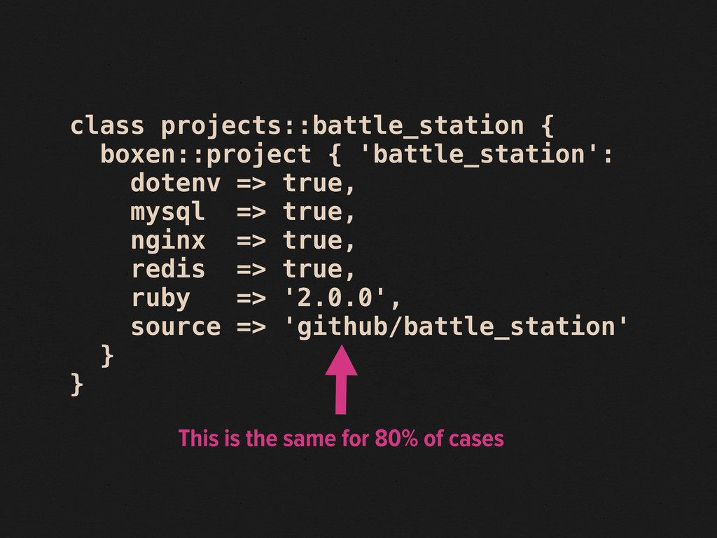 class projects::battle_station { boxen::project...