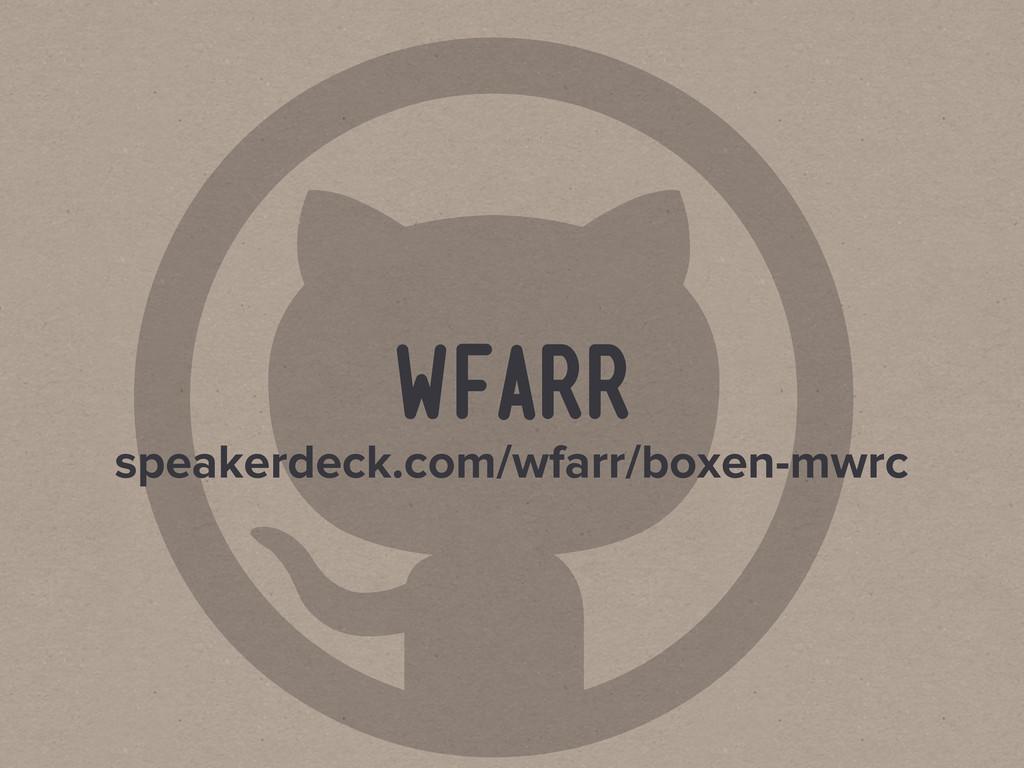  wfarr speakerdeck.com/wfarr/boxen-mwrc