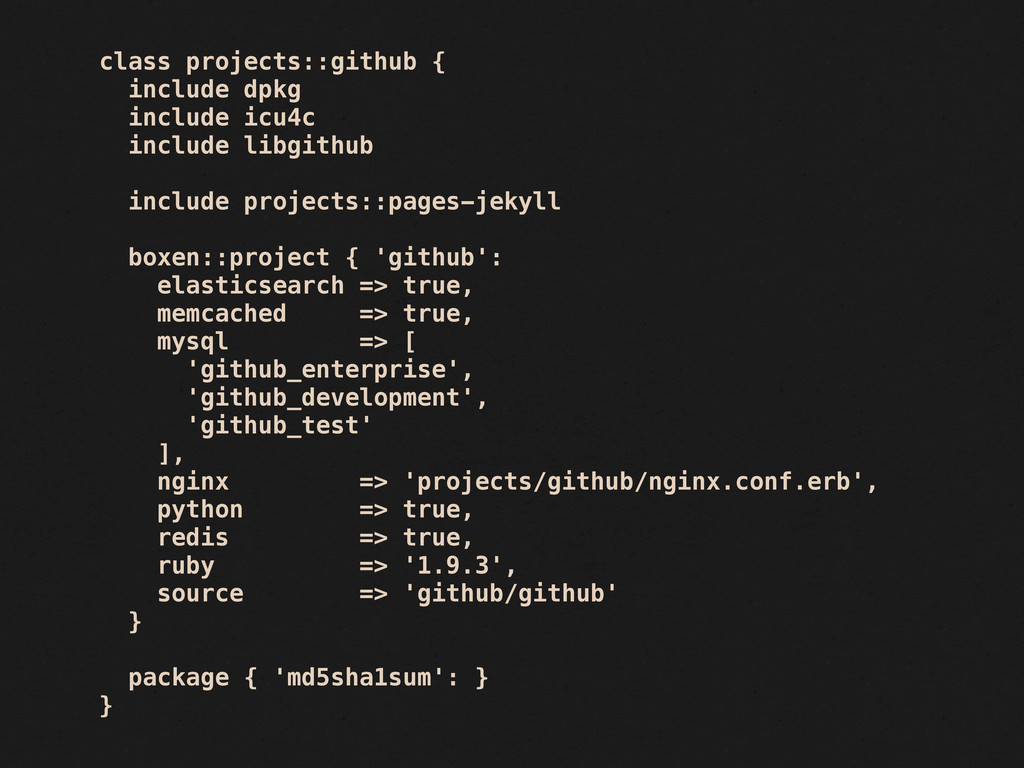 class projects::github { include dpkg include i...