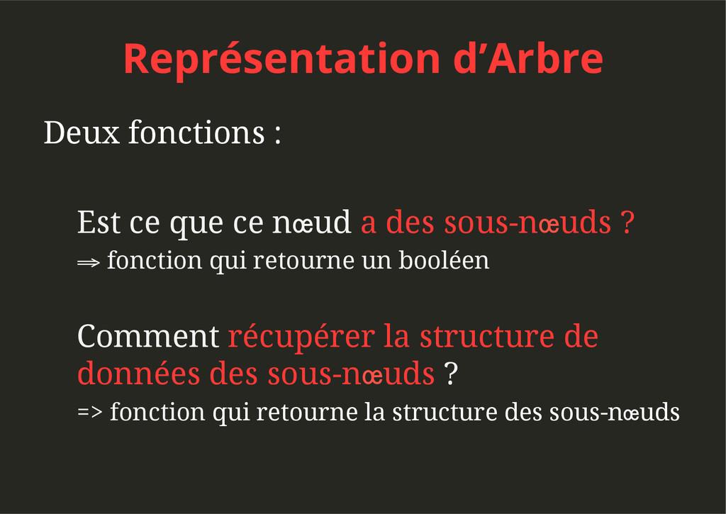 Représentation d'Arbre Deux fonctions : Est ce ...