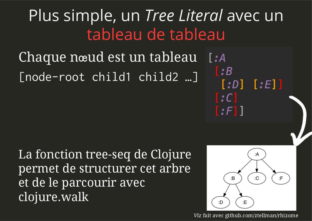 Chaque nœud est un tableau [node-root child1 ch...
