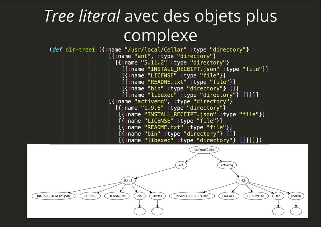Tree literal avec des objets plus complexe