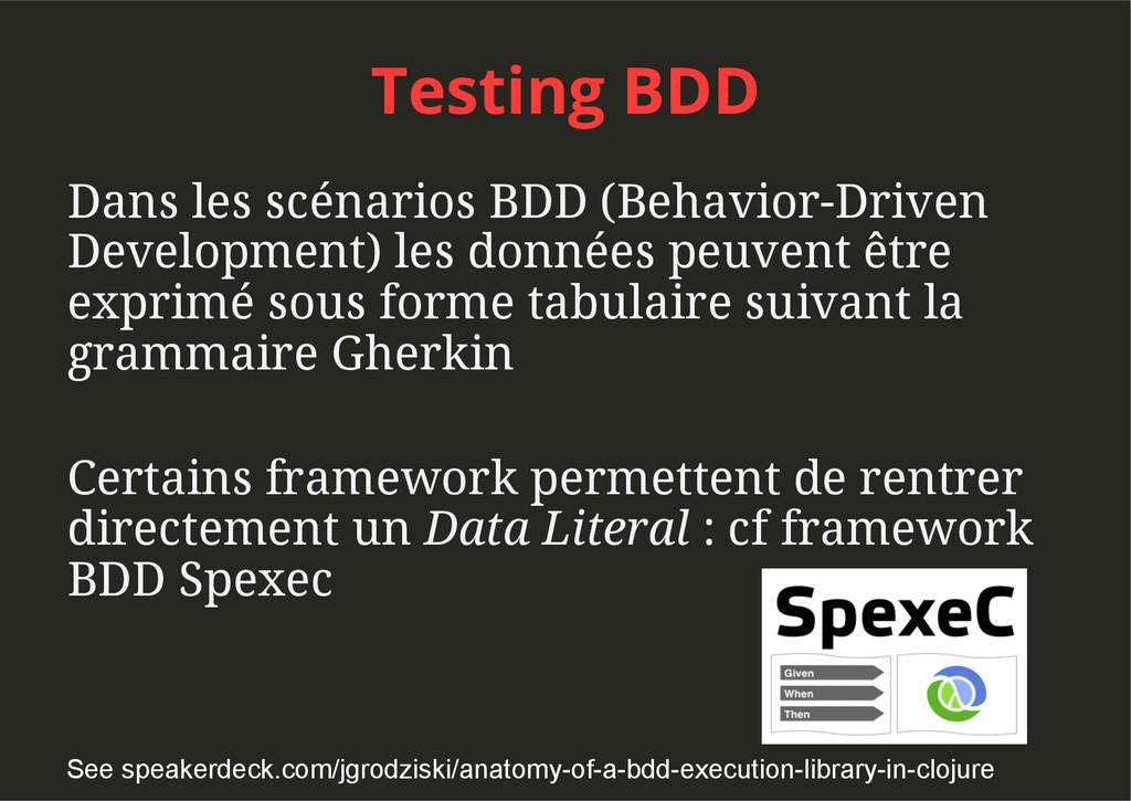 Testing BDD Dans les scénarios BDD (Behavior-Dr...