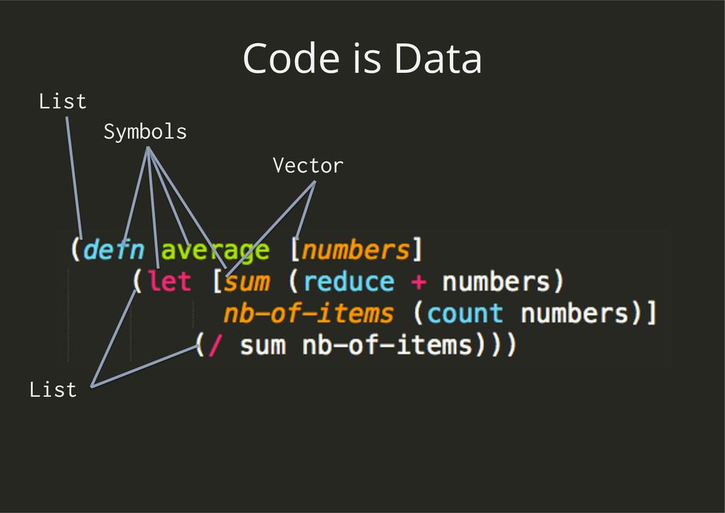 Code is Data Vector List Symbols List